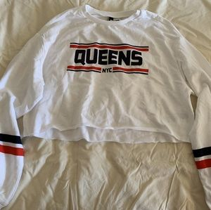 H&M White Queens NYC crop top